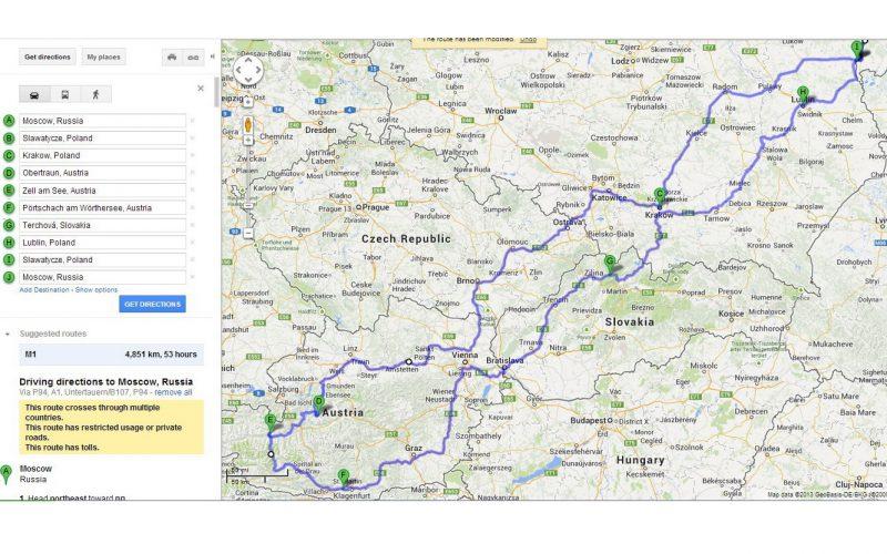 austria 2013 route
