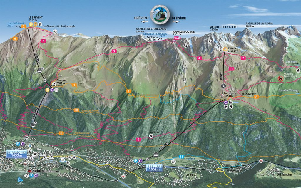 Chamonix Brevent-Flegere hiking map