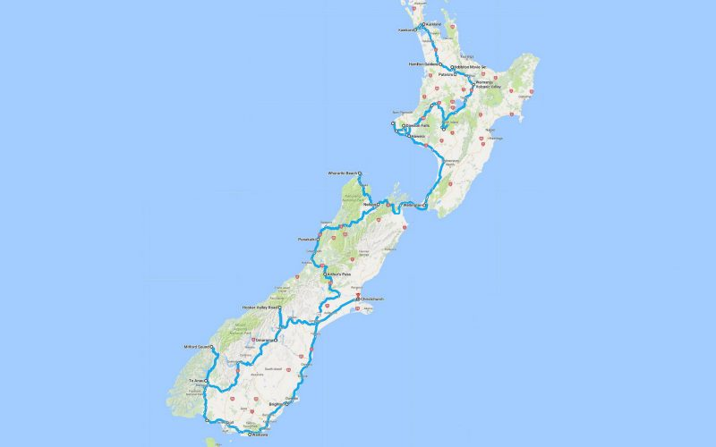 new zealand 2017 route