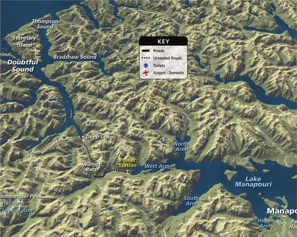 Doubtful Sound - Lake Manapouri map
